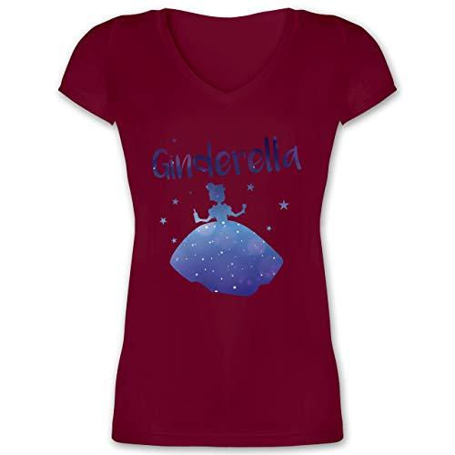 Typisch Frauen - Ginderella - L - Bordeauxrot - XO1525 - Damen T-Shirt mit V-Ausschnitt (Gin Fett)