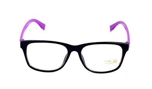 Nerd-Brille Lila ohne Sehstärke Slim-Fit Slim-Brille 15cm Damen Unisex Panto-Brille Lese-Brille Klar-Glas Nerd-Brille Geek-Brille Violett Dark Schmal