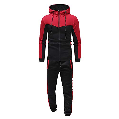 ESAILQ Herren Herbst-Winter-Packwork-Sweatshirt-Top-Hosen-Sets Sportanzug Trainingsanzug(XXX-Large,Rot)