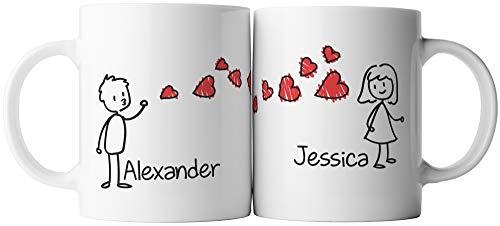 ghostee taza de café - Él y ella aman el beso del corazón - 2x personalizable nombre deseo personalizado (sin juego, una sola taza)