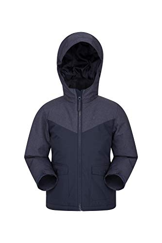 Mountain Warehouse Logan gefütterte Kinderjacke - wasserdichte, warme Regenjacke mit Taschen, leichte Winterjacke Jungen Mädchen Marineblau 128 (7-8 Jahre)