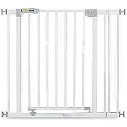 Hauck Open N Stop Barrière de Sécurité / Portes d'escalier, Combinable avec Y-broches, Métal, Pivotant des deux Côtés, 75 - 80 cm + 9cm extension (84-89cm), Blanc