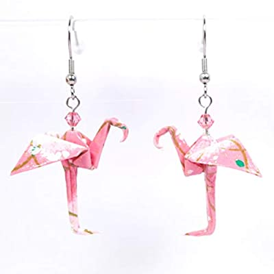 Boucles d'oreilles flamant roses et rose pâles origami - crochets inox