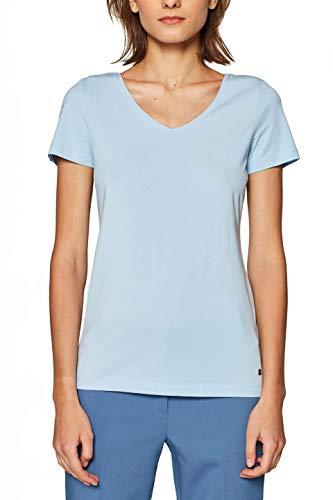 ESPRIT Damen 029EE1K001 T-Shirt, Blau (Light Blue 4 443), Medium (Herstellergröße: M) - Light Blue Damen-shirt
