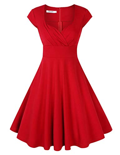 KOJOOIN Damen 50er Vintage Kleid Retro Cocktailkleid Abendkleid Ballkleid V-Ausschnitt Knielang Kleider Rot M