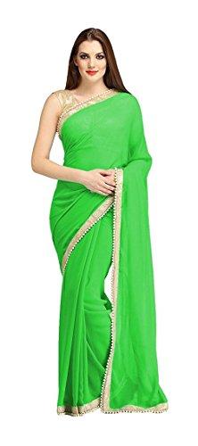 Yug Creation Women\'s Chiffon Saree (Green)