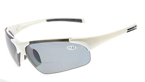 Eyekepper TR90 Unzerbrechliche Sport-halb-randlose bifokale Sonnenbrille Baseball-laufender Fischen-fahrender Golf-Softball-wandernde weiße Rahmen-graues Objektiv +1.5