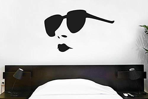 jiuyaomai Moderne Sonnenbrille Frau Wandtattoo Lippen Vinyl Wandaufkleber Mädchen Schlafzimmer Muster Abnehmbare Innen Home Art Wandbild 92x57 cm