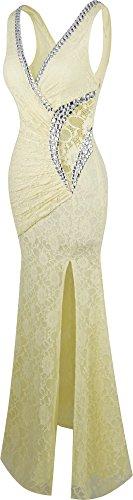 Angel fashions Damen V-Ausschnitt Spitze Teilt Gekräuselt Bördeln Mantel  Hochzeitskleid Champagner ...