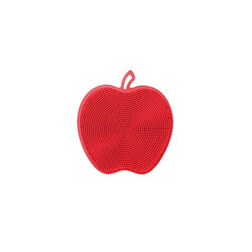 YA-Uzeun Multifunktionale Silikon Waschbürste als Untersetzer Isolierpad, rot, 12X12cm -