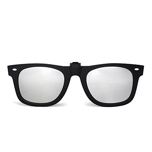 Polarisiert Clip auf Sonnenbrille Flip up Gespiegelt Brille Damen Herren(Matt-schwarz/Spiegel Silber)