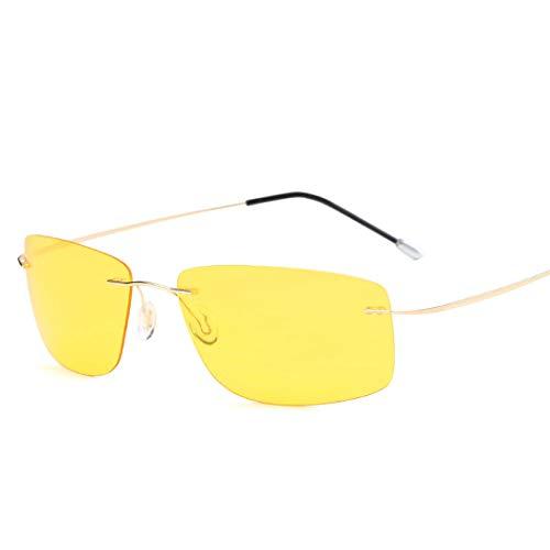 HONGNA Mode Helle Sonnenbrille Rahmenlose Reine Titan Licht Männer Und Frauen Platz Fahren Spiegel Polarisierte Sonnenbrille Sonnenschirm Spiegel (Farbe : Gelb)