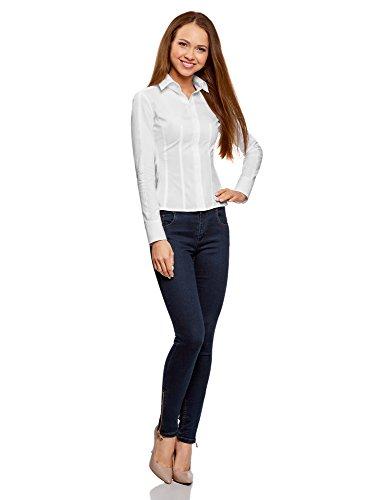 ... oodji Collection Damen Tailliertes Baumwoll-Hemd Weiß (1000N) ...