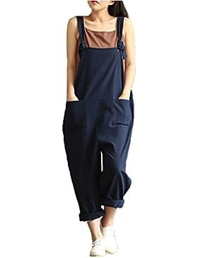 Feixiang mujer suelta mono correa cinturón babero pantalones pantalones casuales pantalones generales (Negro,...