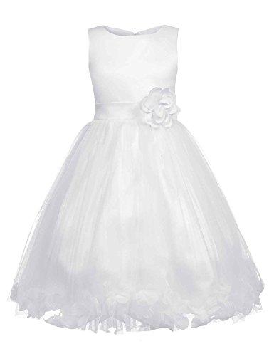 tze Kleid Kinder Maedchen Kleid festlich Party Kleid Festzug Hochzeit Weiss (Tee-mädchen-kleider)