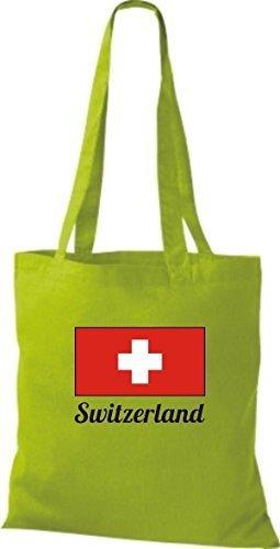 ShirtInStyle Stoffbeutel Baumwolltasche Länderjute Switzerland Schweiz Farbe Pink limegreen