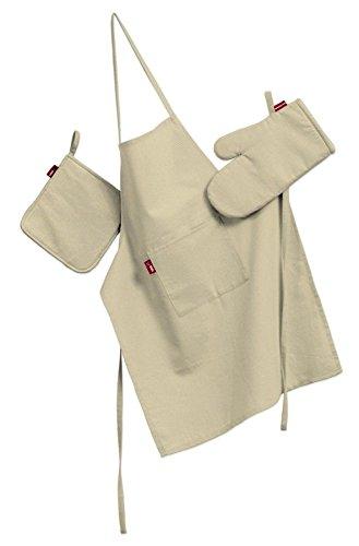 Dekoria Küchenset: Schürze, Handschuh, Topflappen Husse Set creme (Creme Schürze)