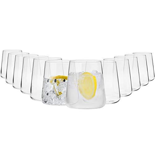 Krosno Gin Gläser Wassergläser Weißweingläser Trinkgläser | Set von 12 | 380 ML | Avant-Garde Kollektion | Perfekt für Hause Restaurants und Partys | Spülmaschinenfest und Mikrowellengeeignet
