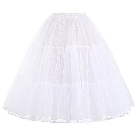 Grace Karin Women's 50s Petticoat Skirt, White(Style 2)