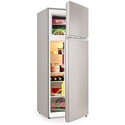 Klarstein Big Daddy L Réfrigérateur-congélateur - Réfrigérateur 166L avec compartiment congélateur 41L, Volume total 207L, Écologique, Éclairage intérieur LED, argenté