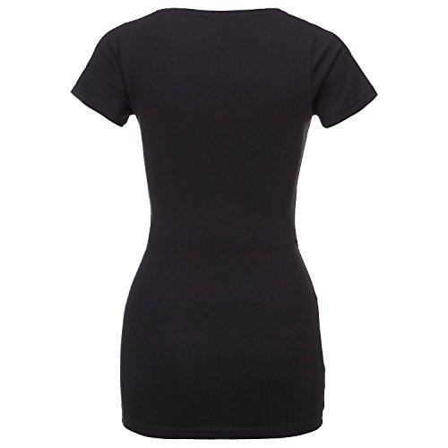 ShirtWorld - Little Wonder Inside - Damen Stretch T-Shirt Extralang Schwarz