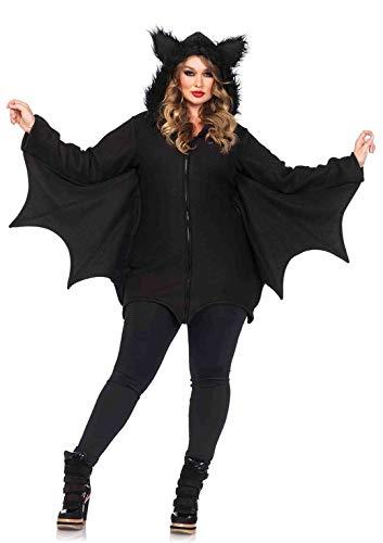 Leg Avenue 85311X - Cozy Bat Damenkostüm Schwarz Karneval Kostüm Fasching Halloween, 3XL/4XL (EUR 52-56)