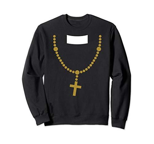 Lustig billig Halloween Kostüm Priester mit Gold Kreuz Kette - Halloween Katholischen Priester Kostüm