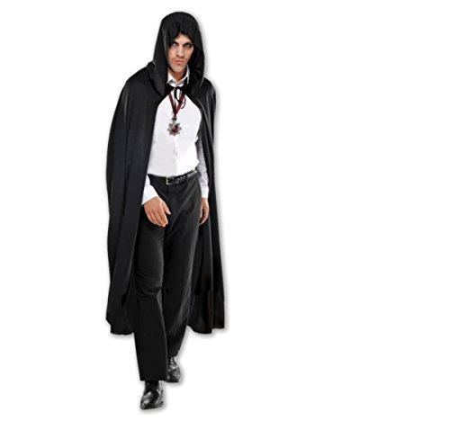 AF Dracula Umhang mit Kapuze Halloween Karneval schwarz ()