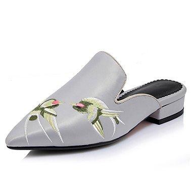 LvYuan Da donna-Sandali-Ufficio e lavoro Formale Casual-Club Shoes-Basso Quadrato-Seta PU (Poliuretano)-Nero Rosso Grigio Black
