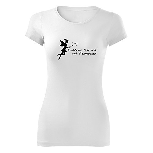 Damen Probleme löse ich mit Feenstaub Shirt - schwarz & weiß - Fashion T- Shirt