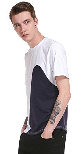 Whatlees Herren Urban Kontrast Design Langes T-shirt mit abgenähtem Design B573-White
