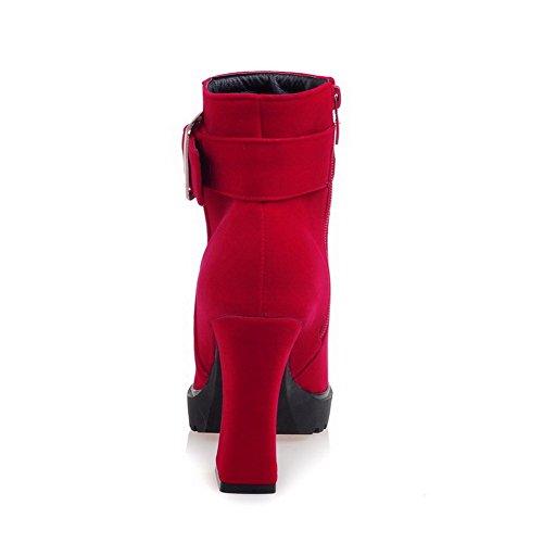 VogueZone009 Damen Metallisch Rund Zehe Rein Reißverschluss Stiefel Rot alCGSBqxM