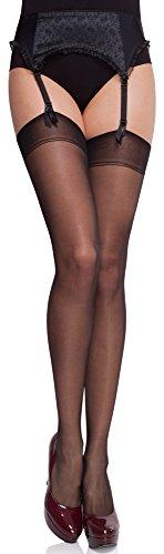Merry Style Donna Trasparenti Calze Autoreggenti MS 226 15 DEN (Nero, M-L)