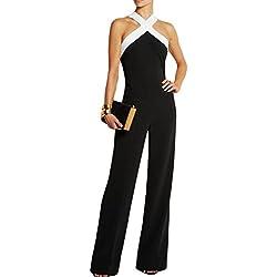 Vemubapis La Femme Est Élégant Bustier Halter Colorblock Combinaison Pantalon Long Romper Black M