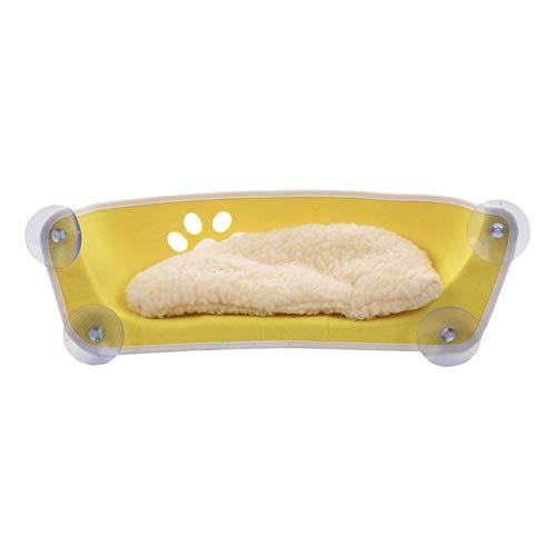 TIANHUI Katze Hängematte Bett Mount Window Pod Lounger Saugnäpfe Warmes Bett Für Haustier Katze Rest Haus mit Matte Pfote Frettchen Käfig Lager 20 kg,Yellow -