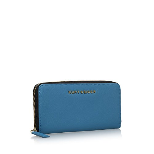 Kurt Geiger London Saffiano Zip Round Turquoise Blue Wallet