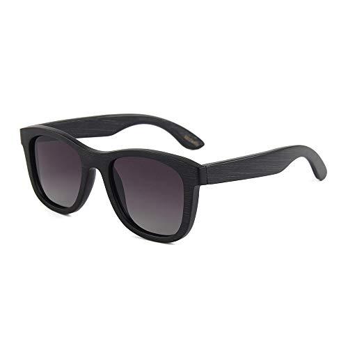 UV400 polarisierte Bambus Holz Sonnenbrillen/handgefertigte Gläser für Mann und Frau beim Reisen, Outdoor-Sport und Aktivitäten/als Geschenke für Freunde und Verwandte (Farbe : Black+Gray)