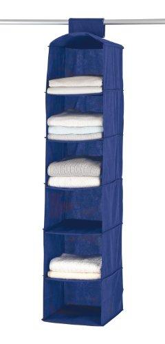 WENKO 4374120100 Wäschesortierer Air - 6 breite Fächer, 100 % Polypropylen, 30 x 122 x 30 cm, Blau