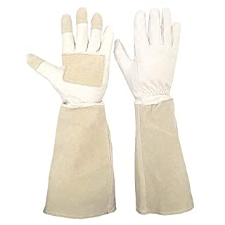Thornproof Leather Gardening Gloves Long Sleeve For Women and Men,Rose Pruning Floral Gauntlet Garden Gloves (Medium, Beige)