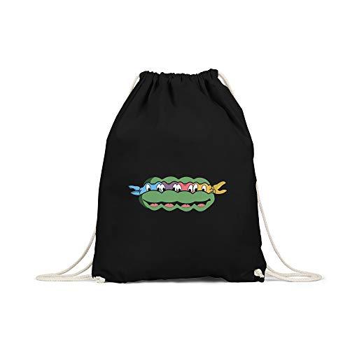 licaso Turnbeutel Bedruckt Turtles Print in Schwarz Gym Bag Kordel Motiv Druck Ökologisch & Nachhaltig 100% Baumwolle