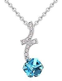 abdd7ea11656 QINJLI Collar con Elementos de Cristal en un Ornamento Colgante de Cubo