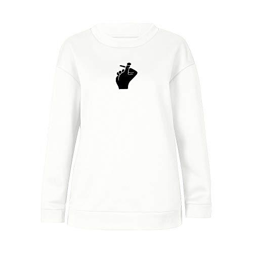 Hmeng Lässige Hoodie Wörtliche Druck Sport Crop Top Sweatshirt Jumper Pullover Tops (Weiß, L)