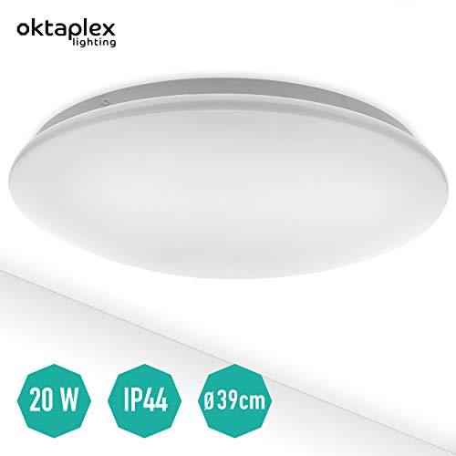 LED Deckenleuchte Como 20 W 3000 K warmweiß   große Deckenlampe 39 cm rund IP44 für Bad Küche Büro Treppenhaus Garage Keller Oktaplex Lighting