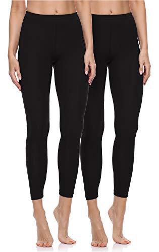 Merry Style Leggings Lunghi Pantaloni Donna (Nero/Nero, 3XL)