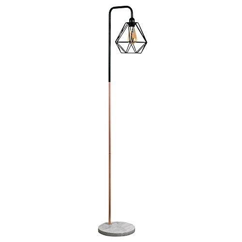 retro-style-black-copper-metal-white-marble-base-floor-lamp-complete-with-a-gloss-black-metal-basket