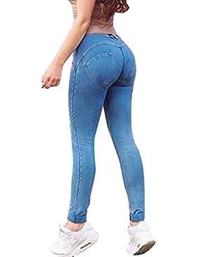 Jeans para Mujer - Moda Slim Fit Elástico Flacos Ajustados Leggings Cintura Media Push up Casual Mezclilla Pantalones...