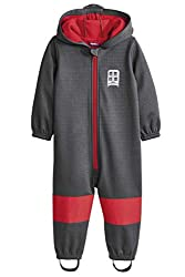 lupilu® Jungen Softshelloverall Overall Regenoverall Grau/Rot 74/80