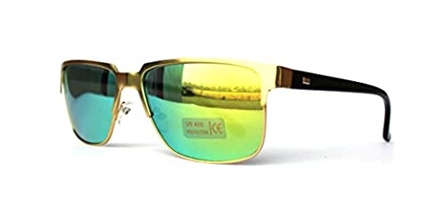 50er 60er 70er 80er 90er Jahre Retro Vintage Sonnenbrille Clubmaster Style Rockabilly Gold Grün (Gold Grün Sonnenbrille)