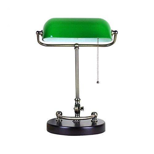 Lampe De Table Lampes de table traditionnelles banquiers rétro avec lampe de bureau en cuivre vert verre ombre LED 18 * 40 * 26cm