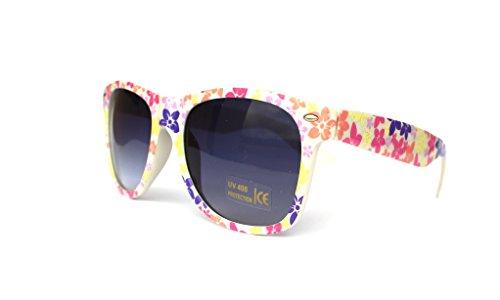 50er 60er 80er 90er Jahre Vintage Sonnenbrille Sommerbrille Clubmaster Style Rockabilly Trend 2017 2018 Mode Fashion Fashionbrille Designer Brille gelb orange Blumen flowers
